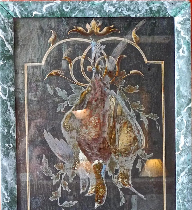 Hand-Painted French 19th Century Faux Marble Hand Painted Framed Painting, Glass is Cracked For Sale