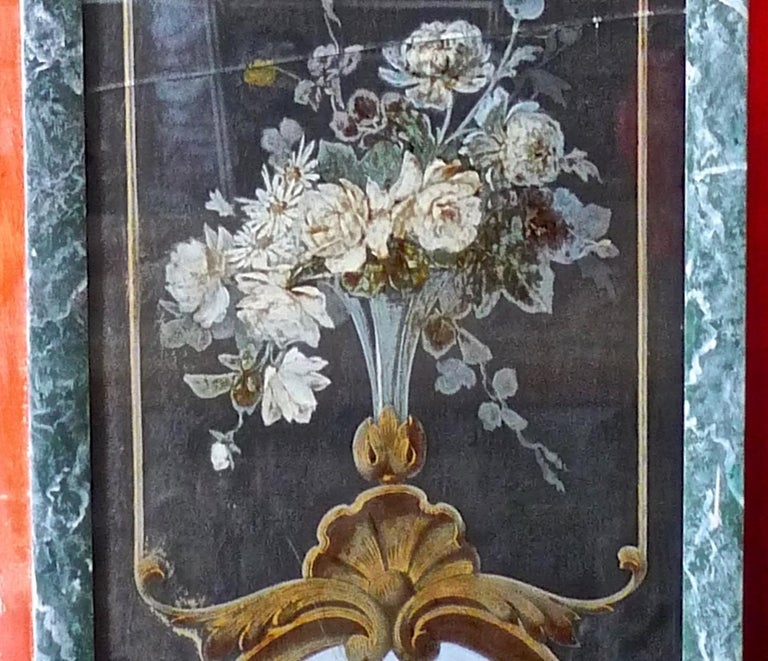 French 19th Century Faux Marble Hand Painted Framed Painting, Glass is Cracked In Distressed Condition For Sale In Santa Monica, CA