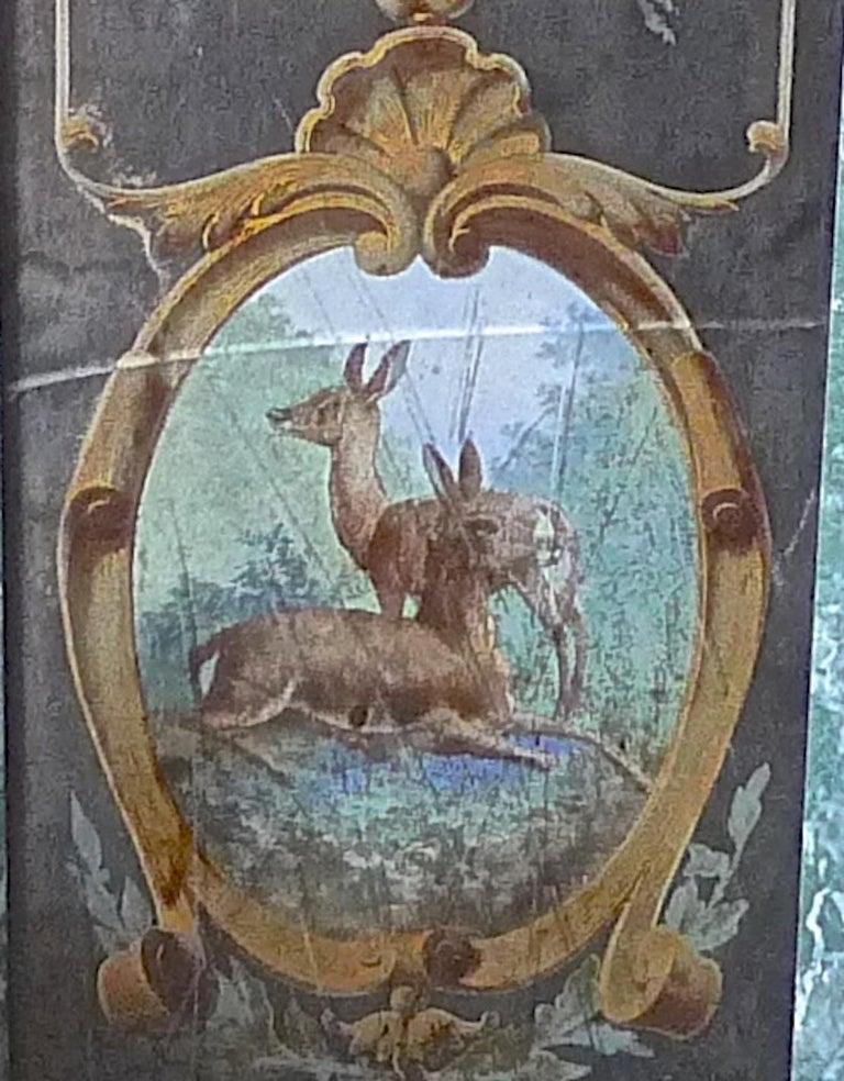 French 19th Century Faux Marble Hand Painted Framed Painting, Glass is Cracked For Sale 1