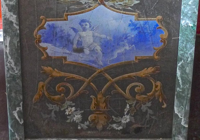 French 19th Century Faux Marble Hand Painted Framed Painting, Glass is Cracked For Sale 2