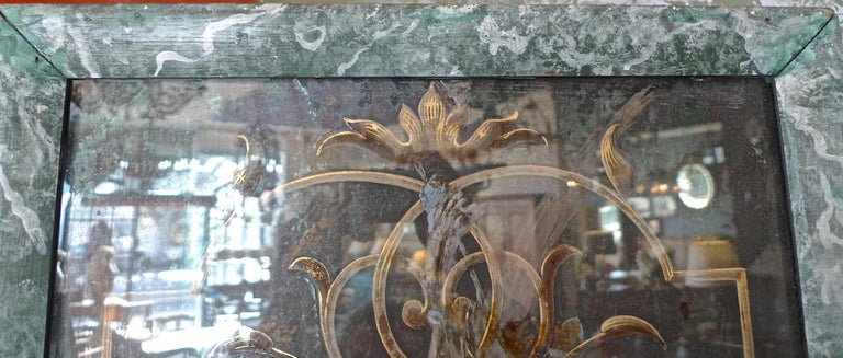 French 19th Century Faux Marble Hand Painted Framed Painting, Glass is Cracked For Sale 4