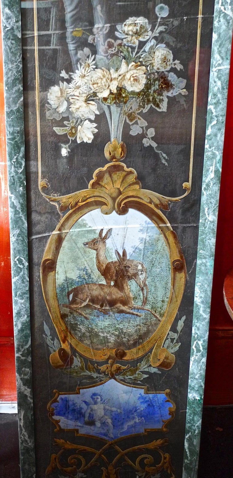 French 19th Century Faux Marble Hand Painted Framed Painting, Glass is Cracked For Sale 5
