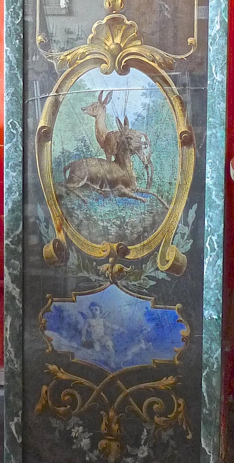 French 19th Century Faux Marble Hand Painted Framed Painting, Glass is Cracked For Sale 6