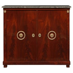 French 19th Century First Empire Period Flamed Mahogany Cabinet