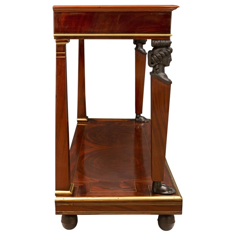 French 19th Century First Empire Period Mahogany, Brass and Marble Console In Excellent Condition For Sale In West Palm Beach, FL