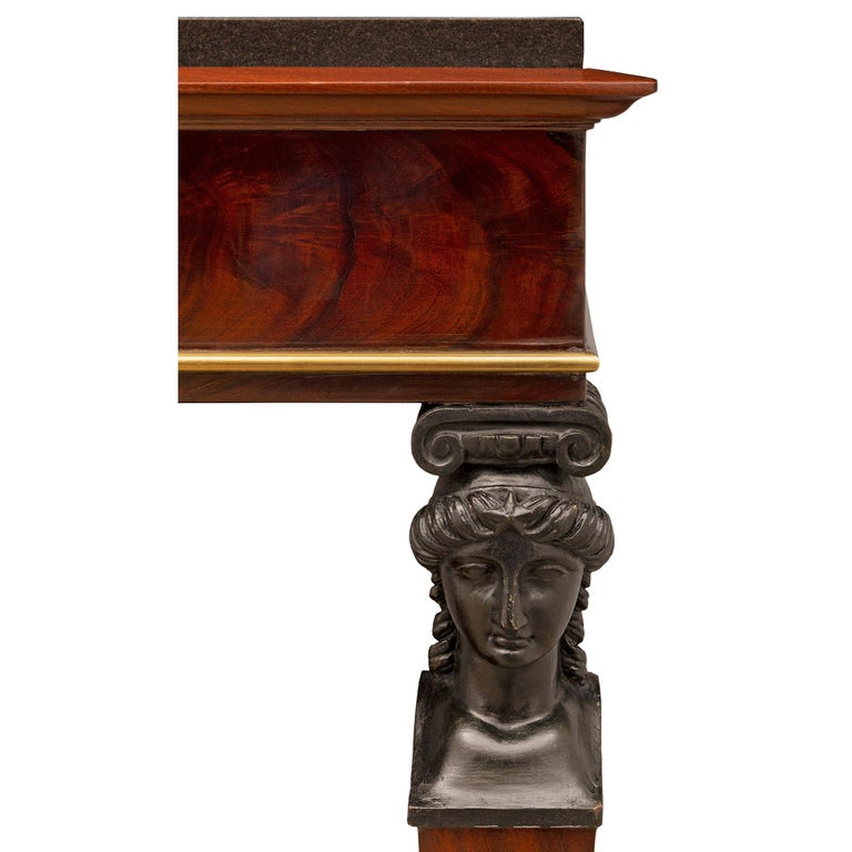 French 19th Century First Empire Period Mahogany, Brass and Marble Console For Sale 1