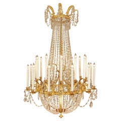 French 19th Century First Empire Period Ormolu and Crystal Chandelier