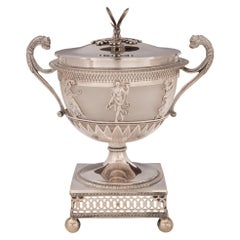 French 19th Century First Empire Period Signed Sterling Silver Lidded Urn