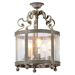 French 19th Century Five-Light Iron and Glass Lantern with Scrolling Accents
