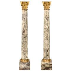 French 19th Century Fleur De Pêcher Marble and Ormolu Columns, Signed Sormani