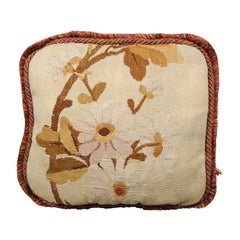 French 19th Century Floral Aubusson Tapestry Pillow with Brown Tones and Cording