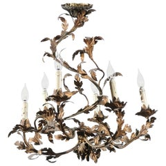 French 19th Century Foliage Inspired Painted Tôle Six-Light Spiral Chandelier