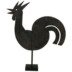 French 19th Century Folk Art Iron Rooster or Cockerel Weathervane