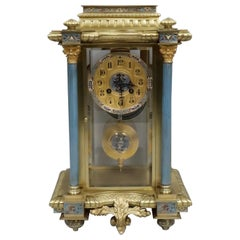 French 19th Century Four Glass Brass and Champleve Mantel Clock by Vincenti