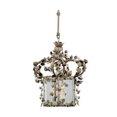 French 19th Century Four-Light Tôle Lantern with Painted Vine and Flowers