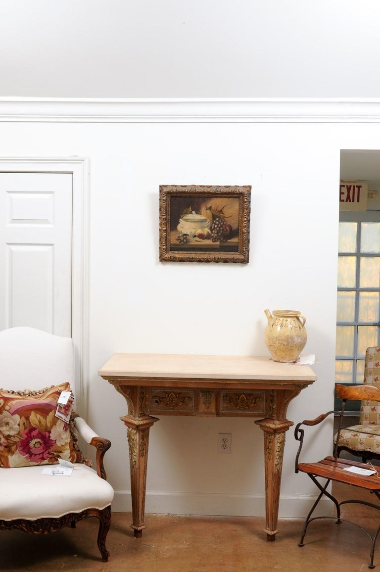 Hand-Painted French 19th Century Framed and Signed Oil on Canvas Still-Life Painting For Sale