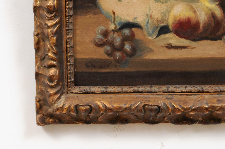 French 19th Century Framed and Signed Oil on Canvas Still-Life Painting In Good Condition For Sale In Atlanta, GA