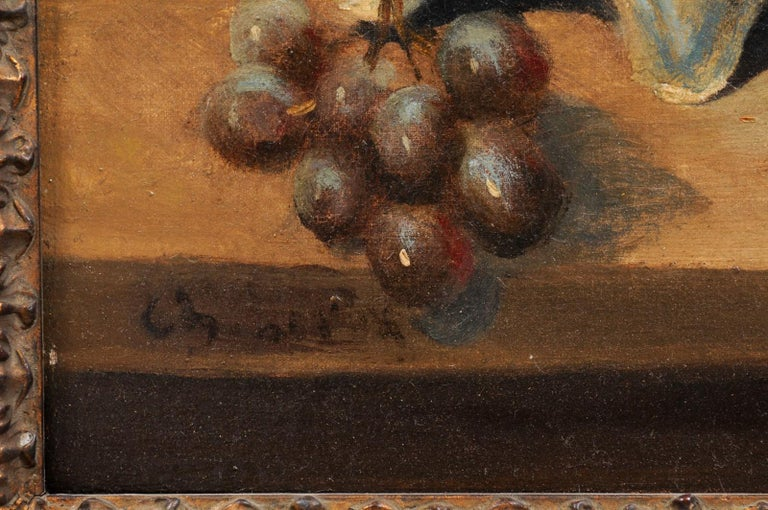 French 19th Century Framed and Signed Oil on Canvas Still-Life Painting For Sale 4