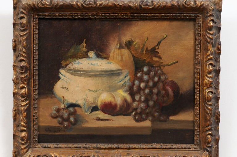 French 19th Century Framed and Signed Oil on Canvas Still-Life Painting For Sale 5