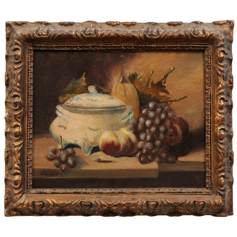 French 19th Century Framed and Signed Oil on Canvas Still-Life Painting For Sale