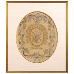 French 19th Century Framed Aubusson Oval Floral Tapestry in Giltwood Frame