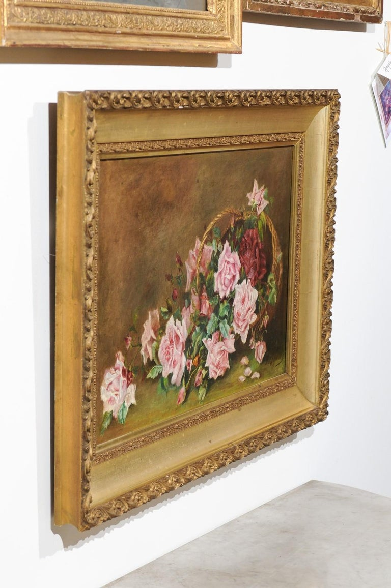 French 19th Century Framed Floral Oil on Canvas Painting Depicting Roses For Sale 7