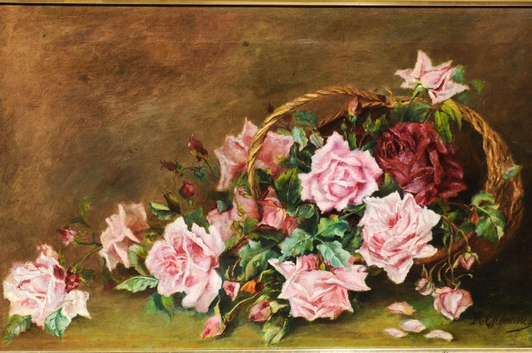 French 19th Century Framed Floral Oil on Canvas Painting Depicting Roses For Sale 1
