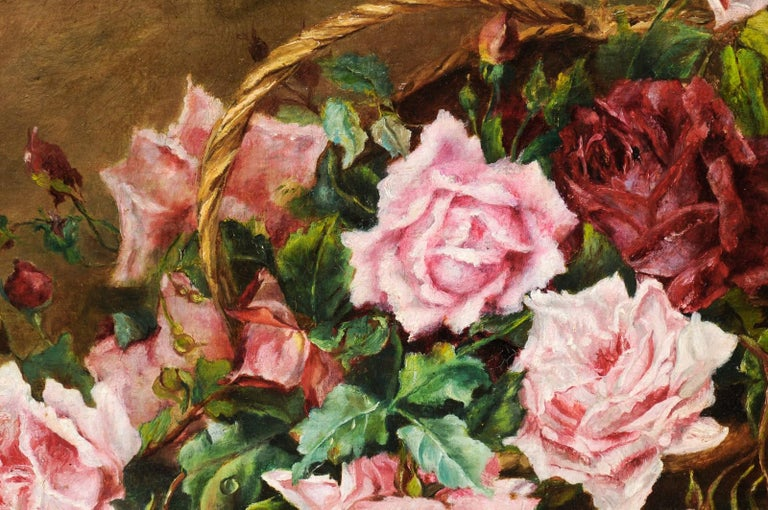 French 19th Century Framed Floral Oil on Canvas Painting Depicting Roses For Sale 2