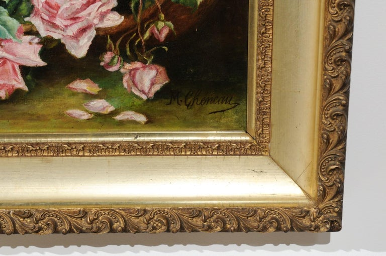 French 19th Century Framed Floral Oil on Canvas Painting Depicting Roses For Sale 3