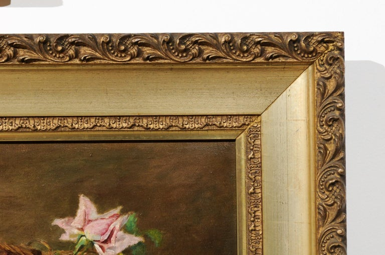 French 19th Century Framed Floral Oil on Canvas Painting Depicting Roses For Sale 4