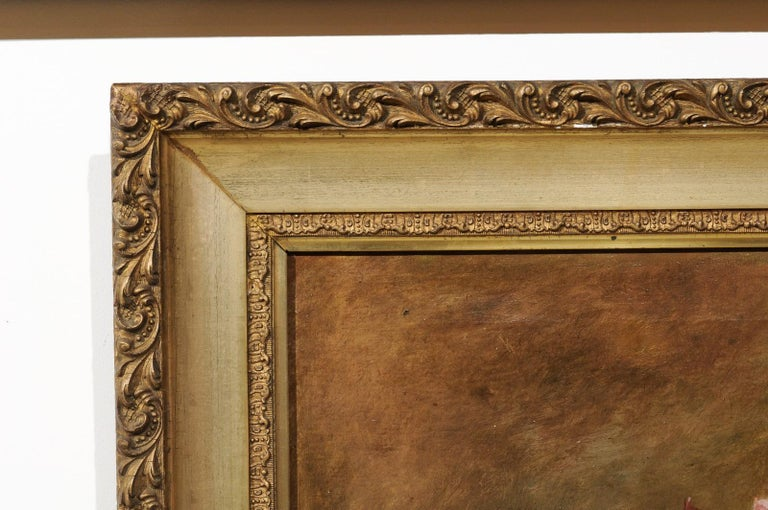 French 19th Century Framed Floral Oil on Canvas Painting Depicting Roses For Sale 5