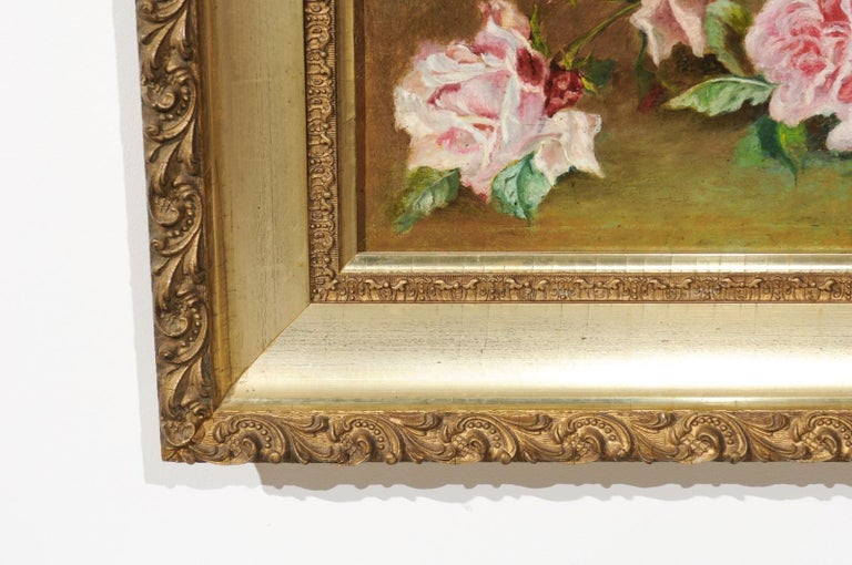 French 19th Century Framed Floral Oil on Canvas Painting Depicting Roses For Sale 6