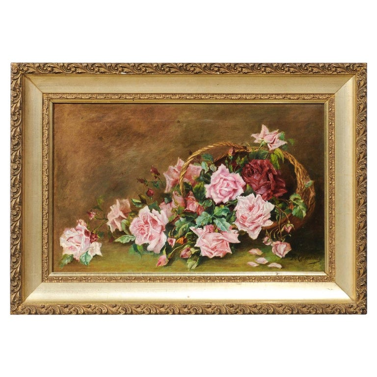 French 19th Century Framed Floral Oil on Canvas Painting Depicting Roses For Sale