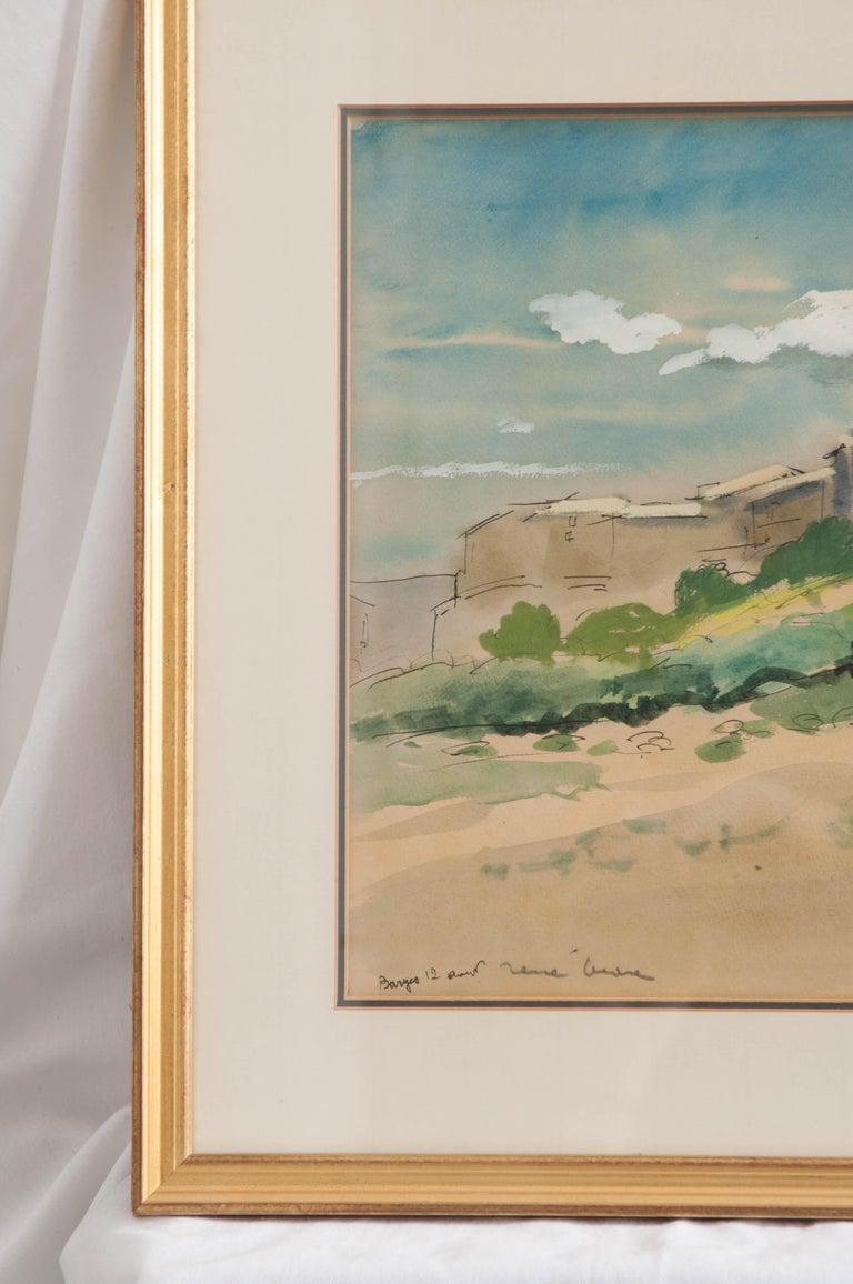Idyllic 19th century landscape painting is framed in a gilded wooden frame with slight distressing and glass. It is signed by artist, Rene Andre.