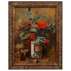 French 19th Century Framed Oil on Canvas Floral Painting Signed Murat