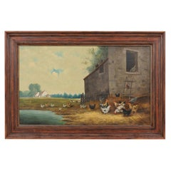 French 19th Century Framed Oil on Canvas Painting of a Farmyard with Chickens