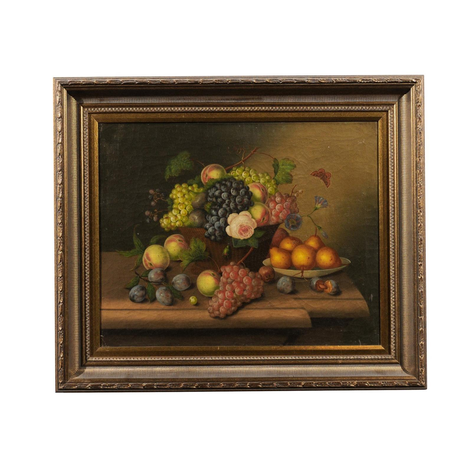 French 19th Century Framed Oil on Canvas Still-Life Painting Depicting Fruits