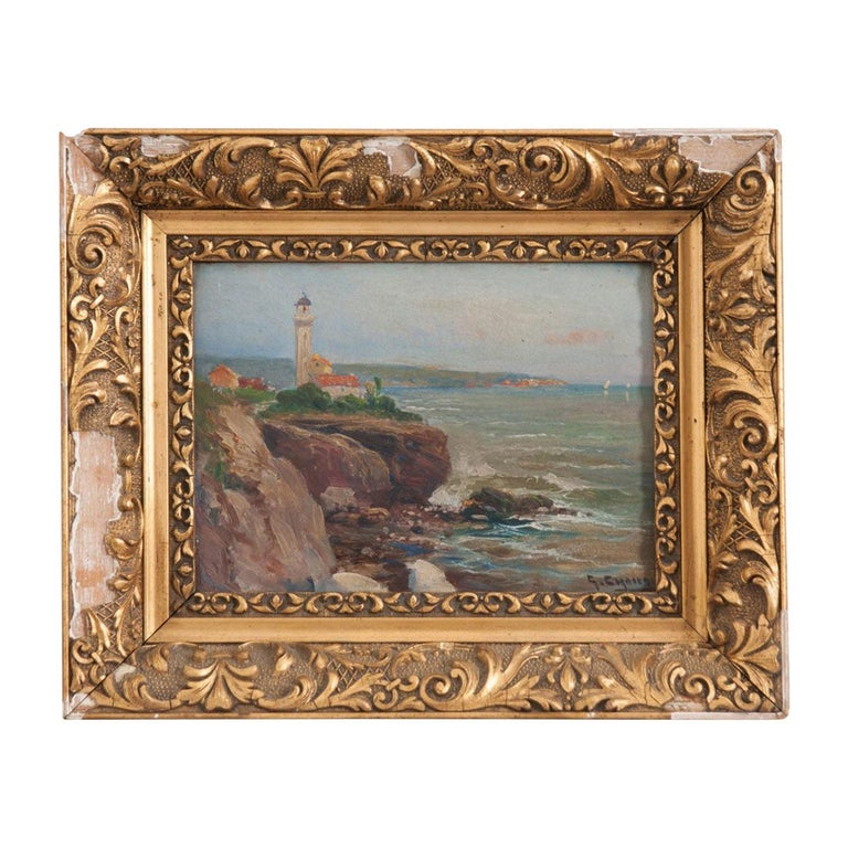 French 19th Century Framed Oil Painting For Sale