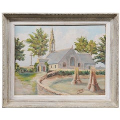 French 19th Century Framed Oil Painting of a Chapel Near Pont-Aven, Brittany