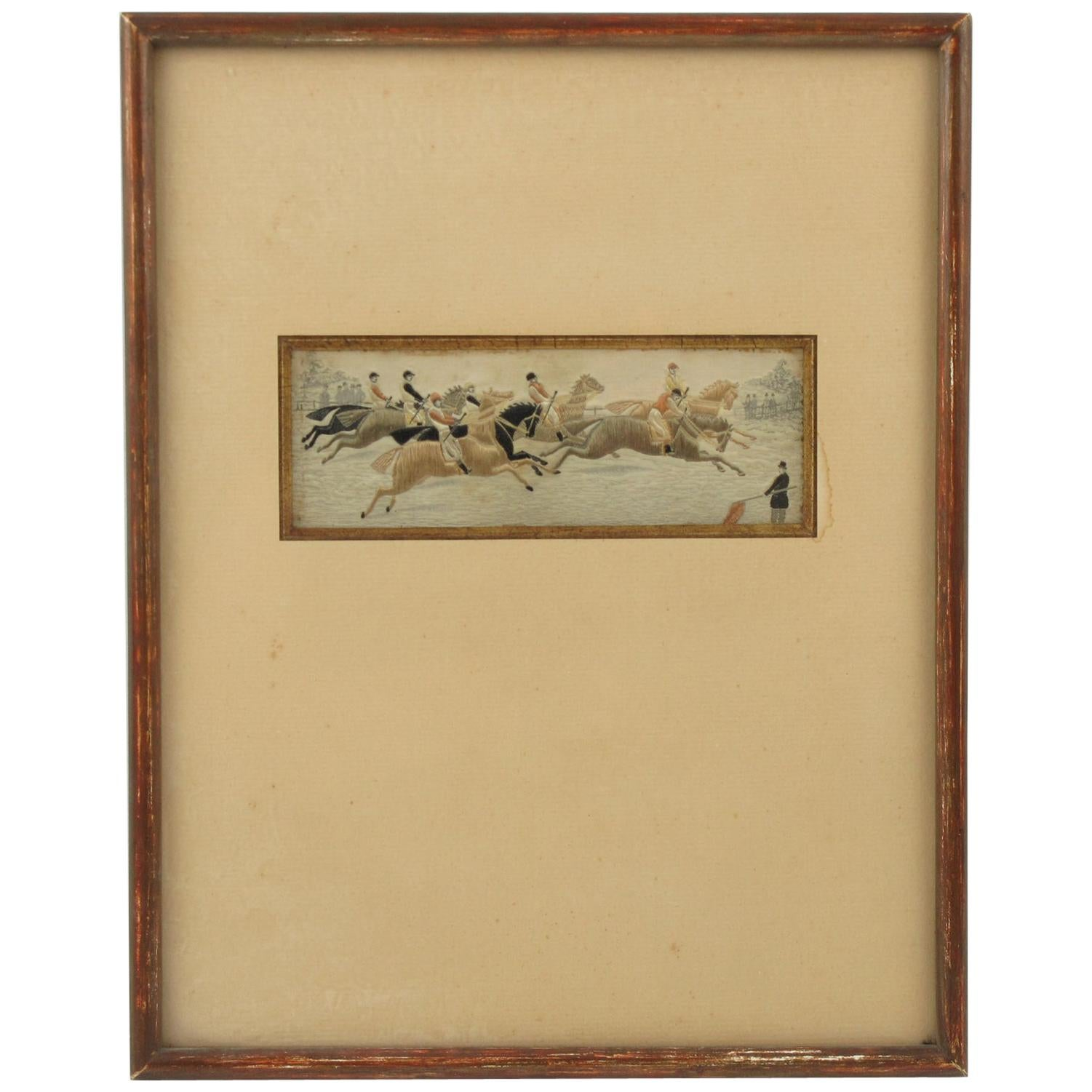 French 19th Century Framed Silk Embroidery Art Work Horse Race