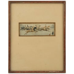 French 19th Century Framed Silk Embroidery Art Work Horses Race