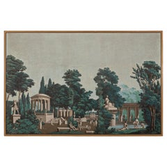 French 19th Century Framed Wallpaper Wall Decor