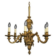 French 19th Century Gilded Bronze 6-Light Antique Chandelier