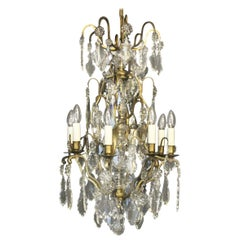 French 19th Century Gilded and Crystal 8-Light Antique Chandelier