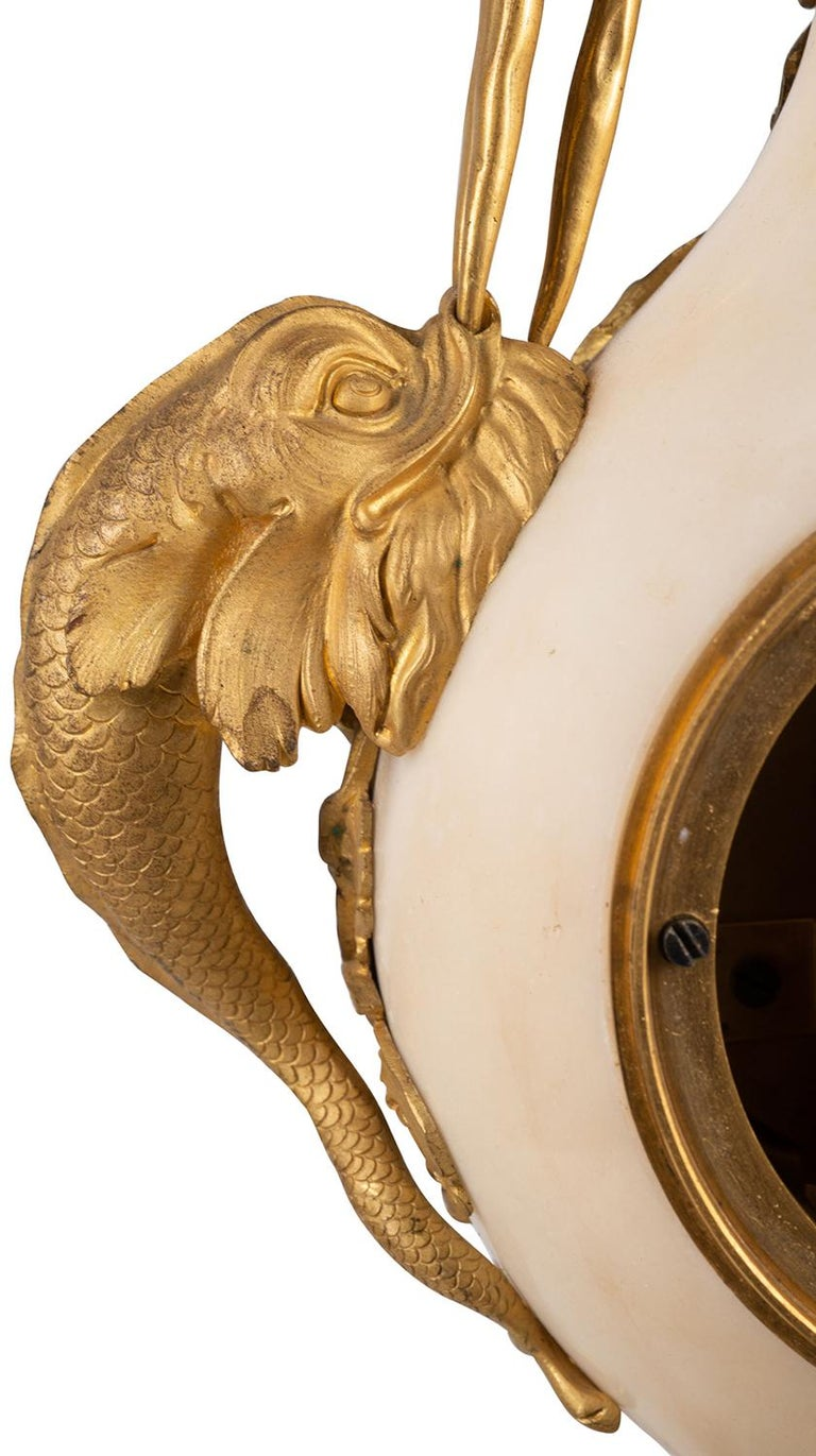French 19th Century Gilded Ormolu and Marble Mantle Clock For Sale 2