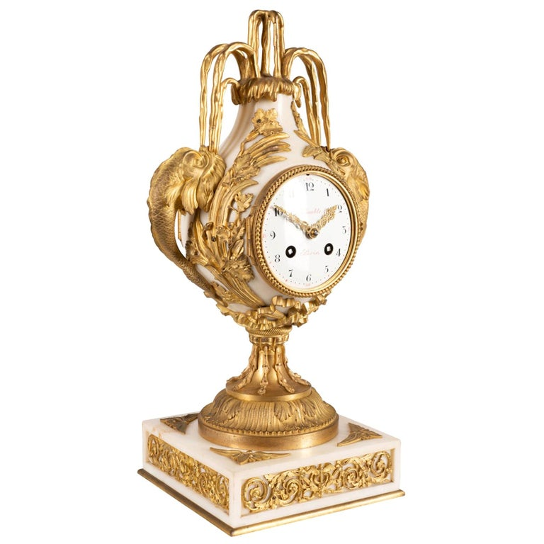 French 19th Century Gilded Ormolu and Marble Mantle Clock For Sale