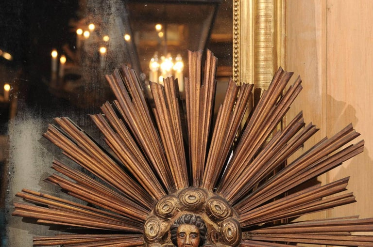 French 19th Century Gilt and Painted Starburst with Carved Angel Face and Clouds For Sale 2