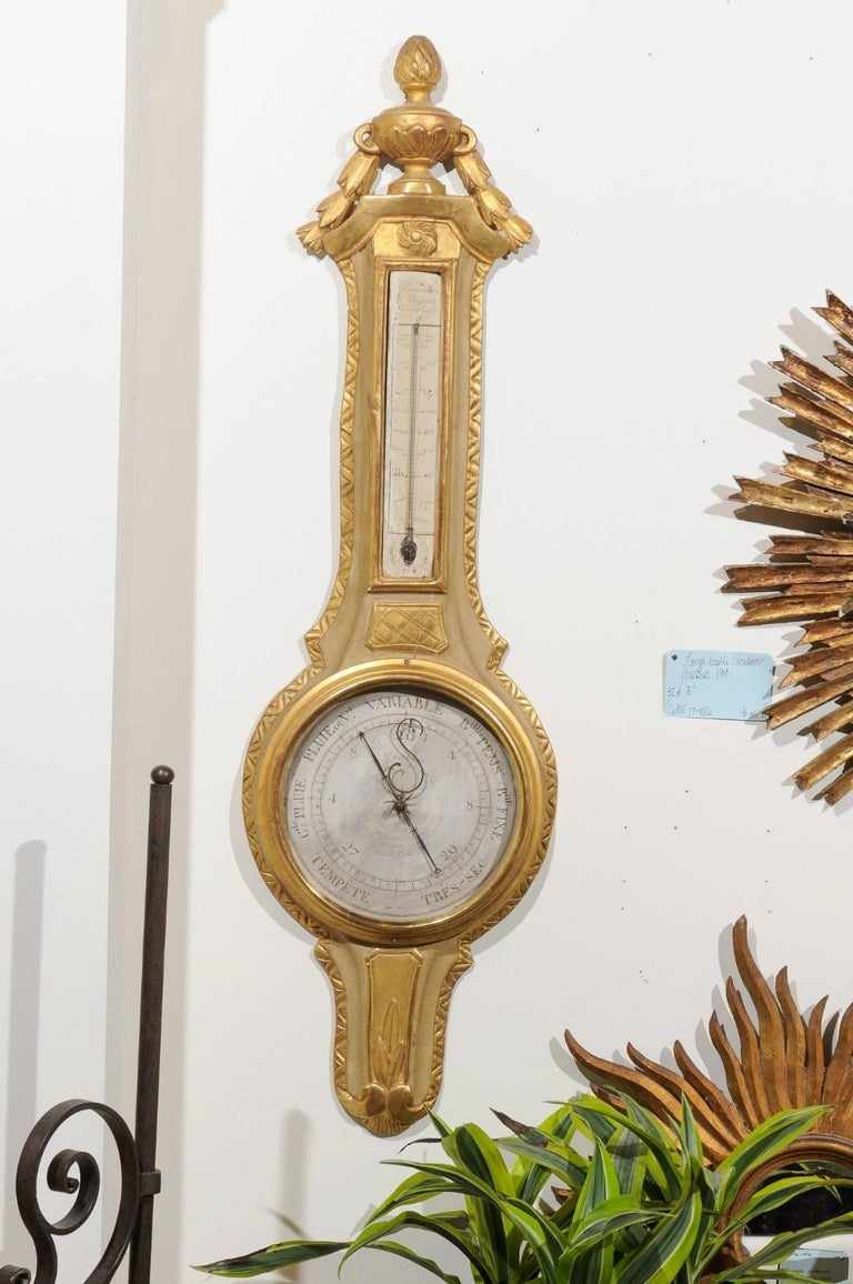 French 19th Century Gilt and Painted Wood Barometer with Urn Carved Crest In Good Condition For Sale In Atlanta, GA