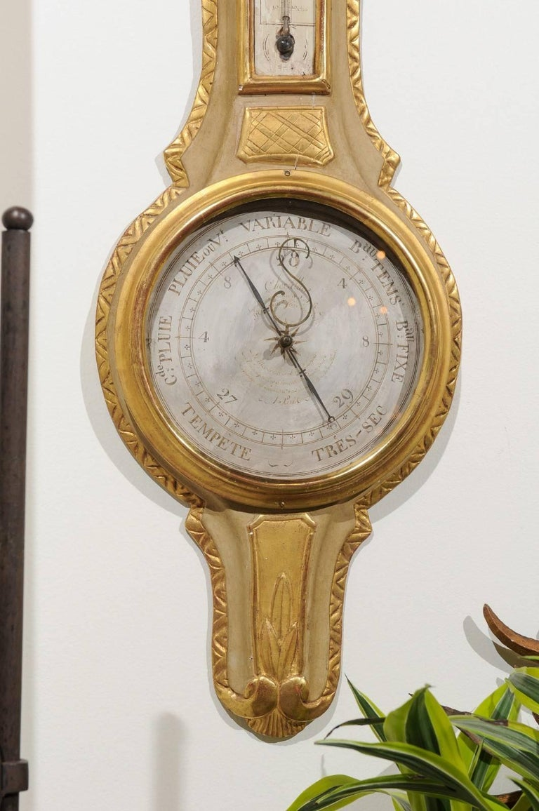 French 19th Century Gilt and Painted Wood Barometer with Urn Carved Crest For Sale 2