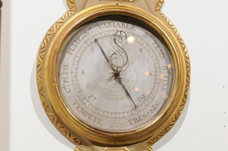 French 19th Century Gilt and Painted Wood Barometer with Urn Carved Crest For Sale 4